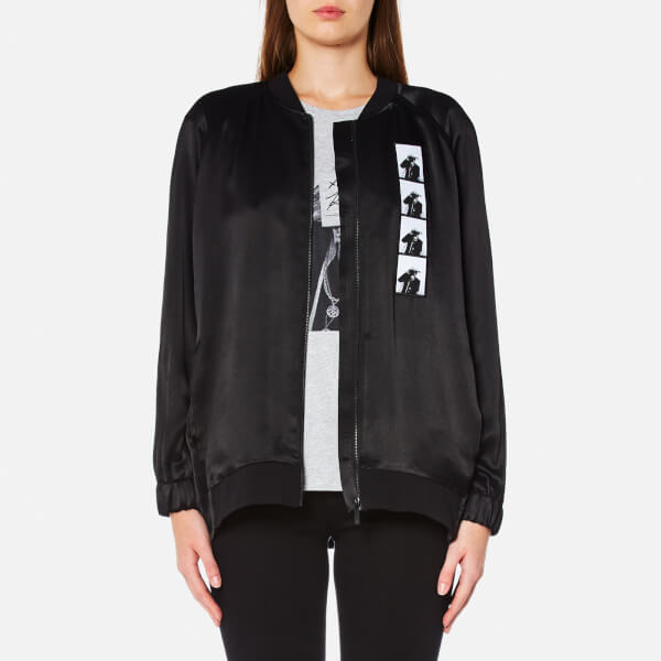 Karl Lagerfeld Women's Satin Karl Photo Bomber Jacket - Black