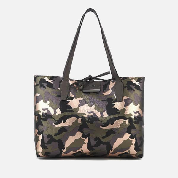 Guess Women s Bobbi Inside Out Tote Bag - Camo Grey Womens ... 3b5348bf48