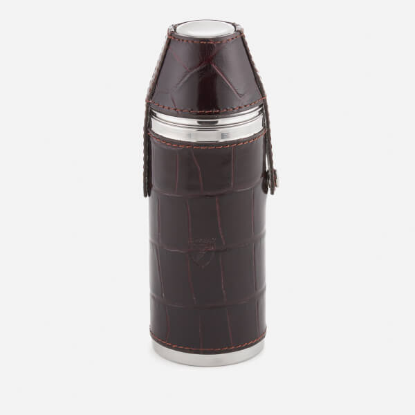 Aspinal of London Men's 6 Inch Hunter Leather Flask - Amazon Brown