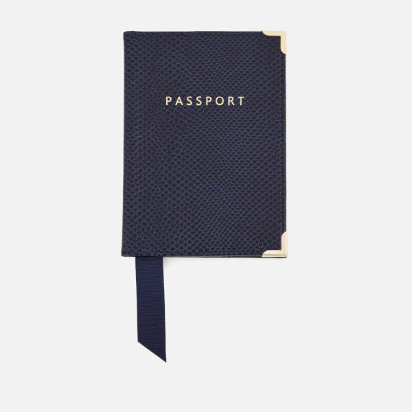 Aspinal of London Women's Passport Cover - Midnight Blue