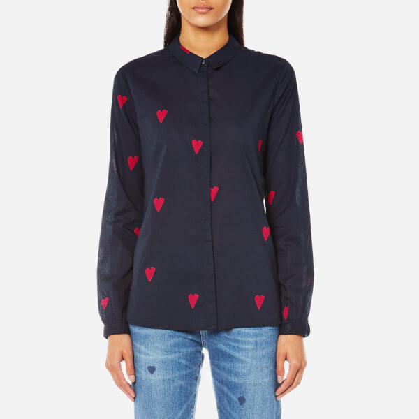 Maison Scotch Women's Basic Shirt in Heart Print - Navy