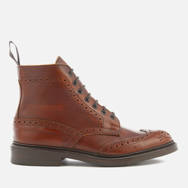 Tricker's Men's Stow Leather Brogue Lace Up Boots - Caramel