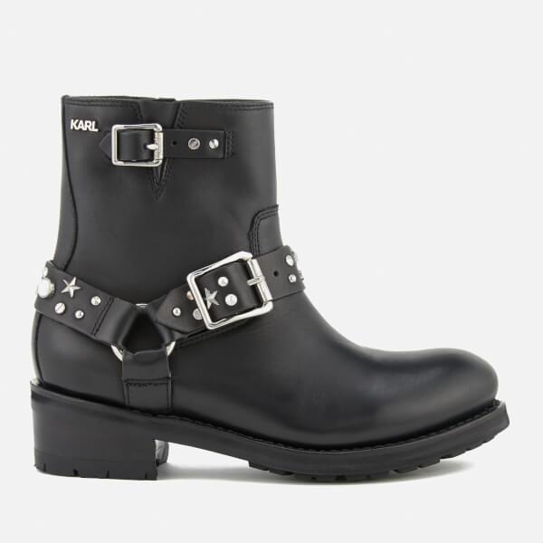 Karl Lagerfeld Women's Biker Leather Celestia Strap Lo Boots - Black w/Silver