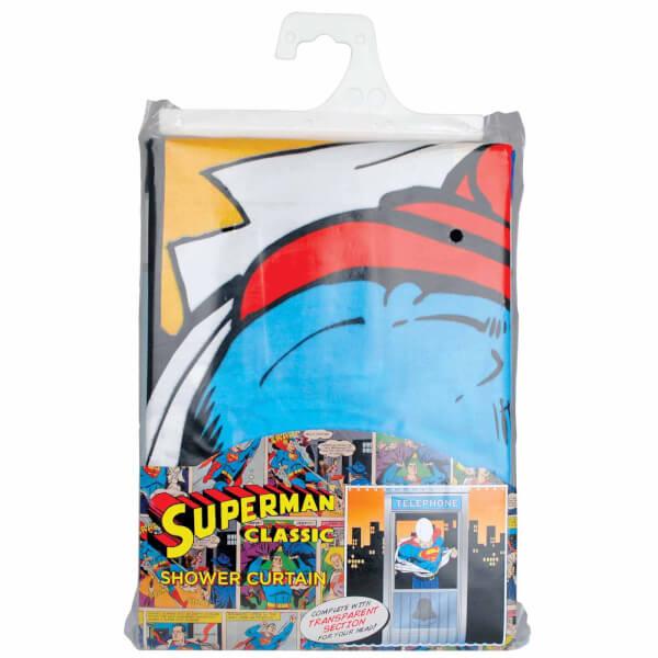 Dc Comics Superman Telephone Box Shower Curtain Homeware Zavvi