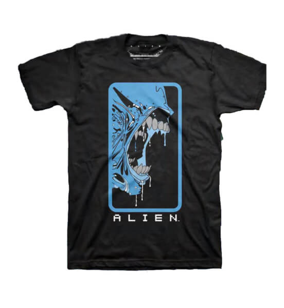 Alien Bluescale Retro Print Men's Black T-Shirt