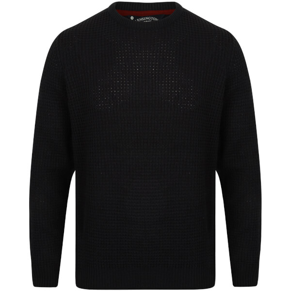 Kensington Men's Crew Neck Jumper with Waffle Stitch - Dark Navy