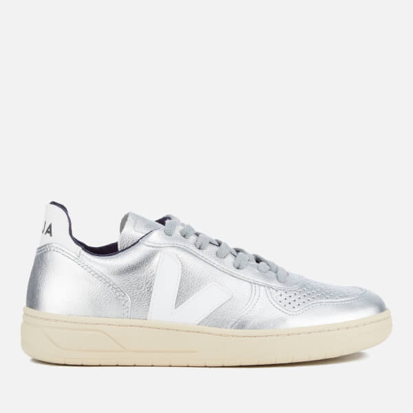 7fbee9744b43 Veja Women s V-10 Leather Trainers - Silver  Image 1