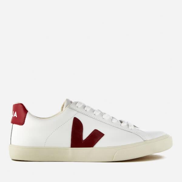 Veja Womens Esplar Low Leather Trainers  Extra White Marsala Image 1
