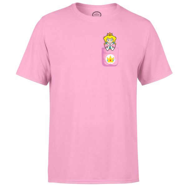 Nintendo Super Mario Peach Pocket Print Pink T-Shirt