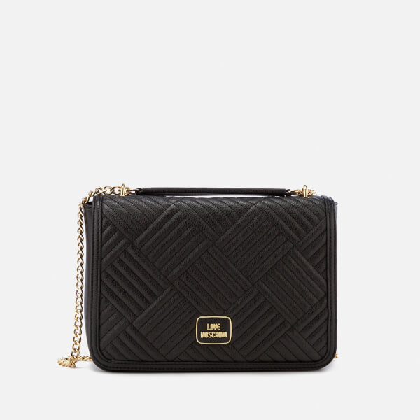 Love Moschino Women's Shiny Quilted Metallic Chain Shoulder Bag - Black