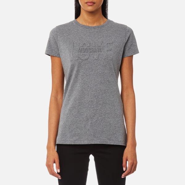 Love Moschino Women's Love Embossed T-Shirt - Dark Grey