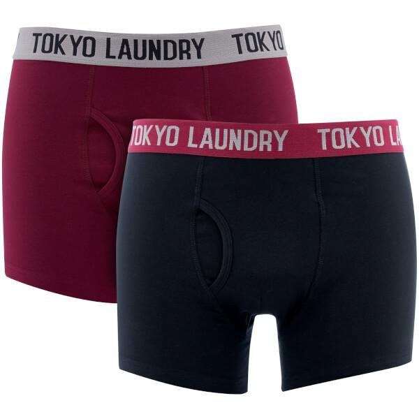 Tokyo Laundry Men's Harleton 2 Pack Boxers - Oxblood/Black