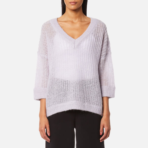 Selected Femme Women's Jina 3/4 Knitted V-Neck Jumper - Evening Haze