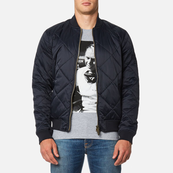 Barbour X Steve Mcqueen Mens Quilt Bomber Jacket Navy Free Uk