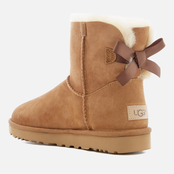 ugg women s mini bailey bow ii sheepskin boots chestnut womens rh thehut com