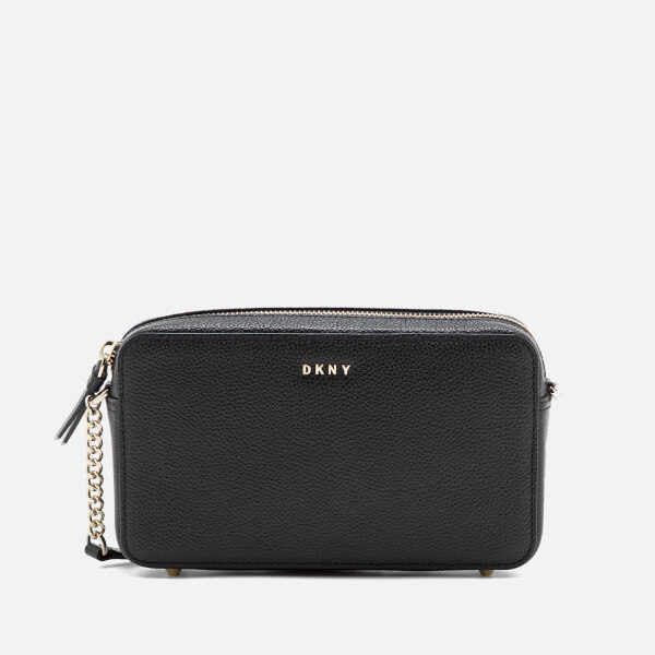 DKNY Women's Chelsea Pebbled Small Leather Top Zip Cross Body Bag - Black:  Image 1