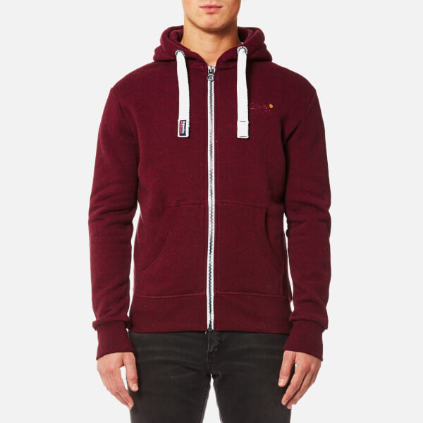 Superdry Men's Orange Label Zip Hoody - Bright Berry Grit