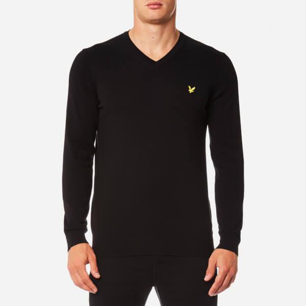 Lyle & Scott Men's V-Neck Cotton Merino Jumper - True Black