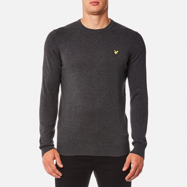 Lyle & Scott Men's Crew Neck Cotton Merino Jumper - Charcoal Marl