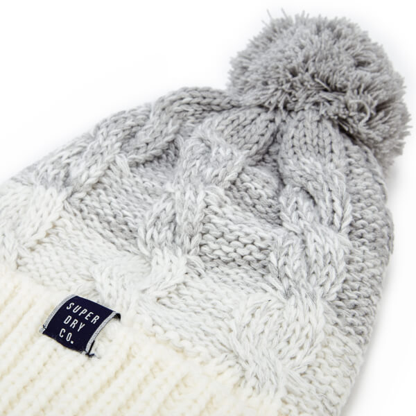 Superdry Women s Clarrie Cable Beanie - Light Grey Ombre Clothing ... 3533feb73cb0