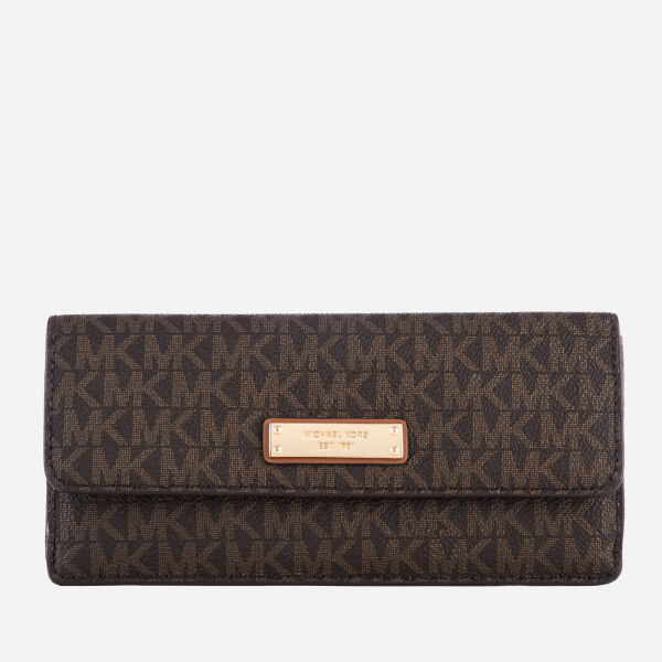 michael michael kors womens flat wallet brown