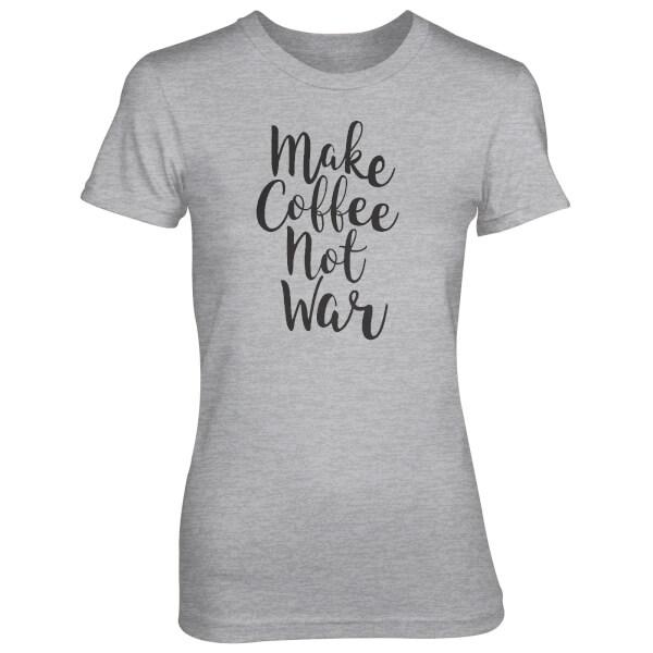 T-Shirt Femme Make Coffee Not War - Gris