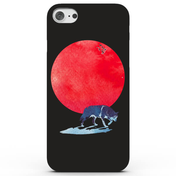 Coque iPhone & Android Lune Rouge et Loup - 4 Couleurs