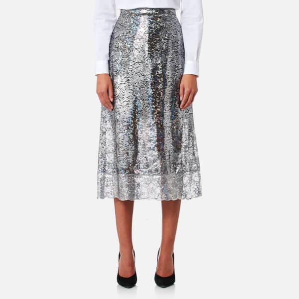 Christopher Kane Women's Midi Foil Skirt - Silver: Image 1