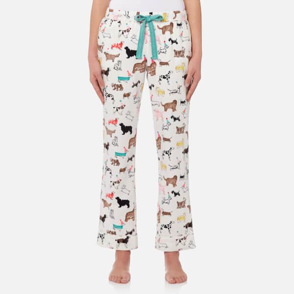 Joules Women's Snooze Woven Pyjama Bottoms - Cream Dogs