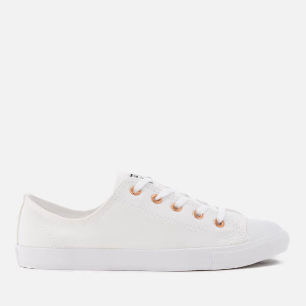 4bb02cc80aeede Converse Women s Chuck Taylor All Star Dainty Ox Trainers - White White  Gold
