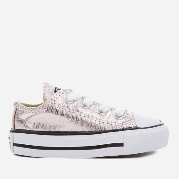Converse Toddlers  Chuck Taylor All Star Metallic Ox Trainers - Rose Quartz  White  a68d2730d