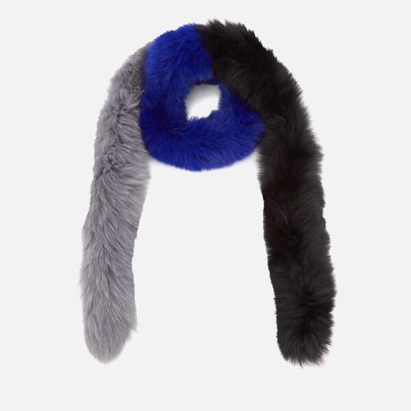 BKLYN Women's Fox Fur Scarf - Electric Blue/Black/Grey