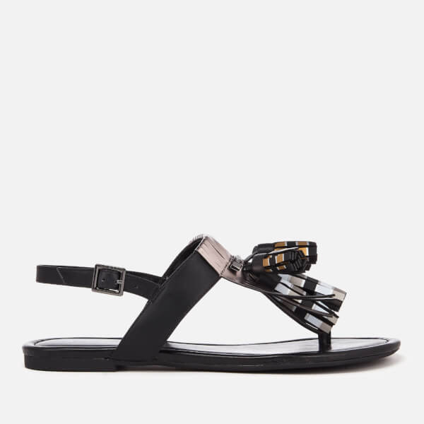 Armani Exchange Women's Tassel Flat Sandals - Black/White/Gold