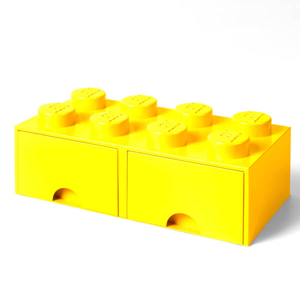 LEGO Storage 8 Knob Brick - 2 Drawers (Bright Yellow)