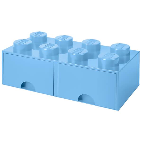 LEGO Storage 8 Knob Brick - 2 Drawers (Light Royal Blue) Toys ...