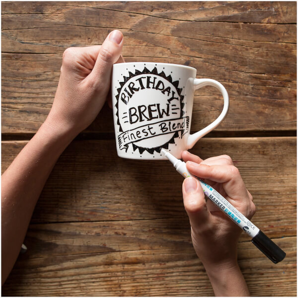 Doodle Draw-on Mug with Ceramic Pen