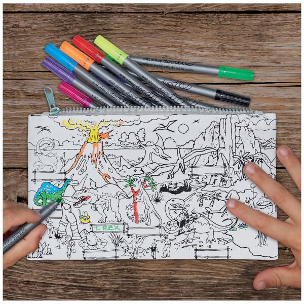 Doodle Dinosaur Pencil Case with 10 Wash Out Pens