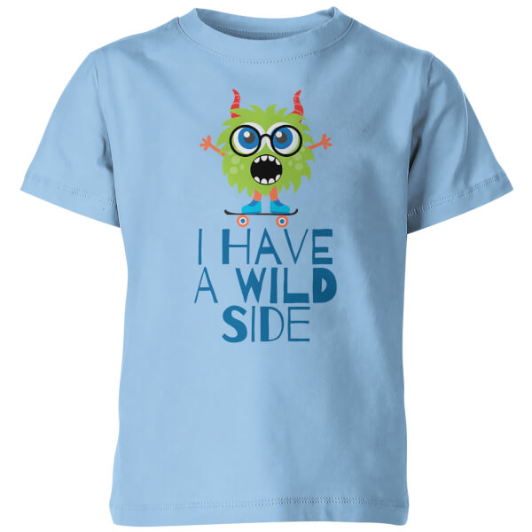 I Have A Wild Side Kid's Blue T-Shirt