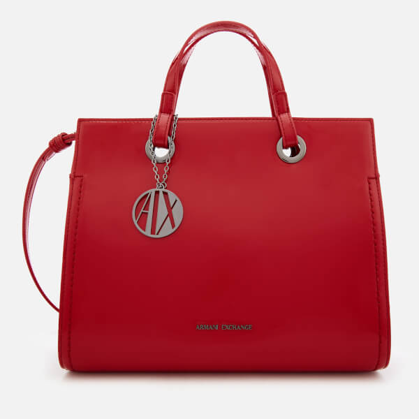 Armani Exchange Women's Structured Patent Tote Bag - Red
