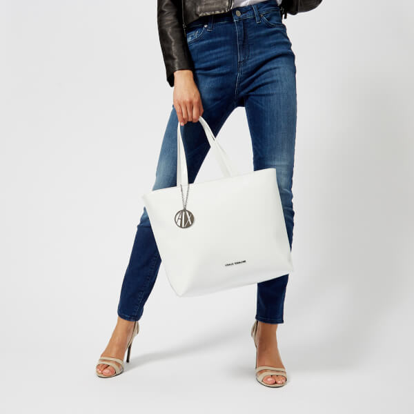 Armani Exchange Women s Patent Tote Bag - White  Image 3 125d1c3f9677d