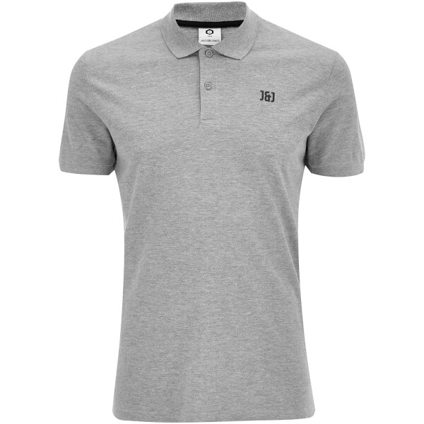 Jack & Jones Men's Core Booster Polo Shirt - Light Grey Marl