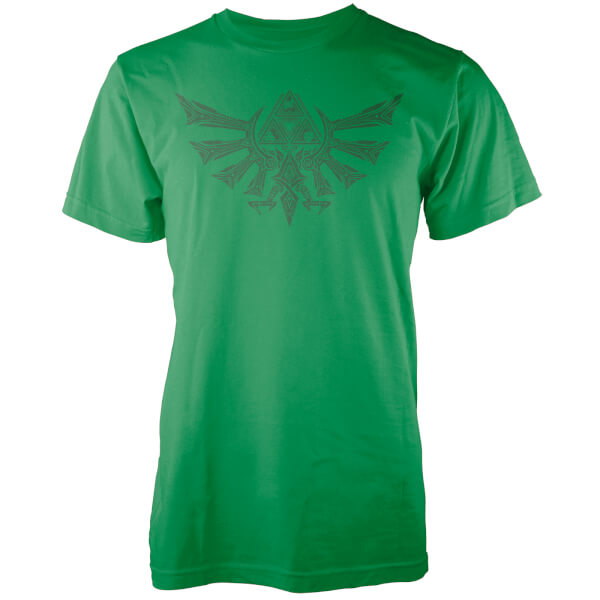 Nintendo Zelda Tribal Hyrule Crest Men's Green T-Shirt