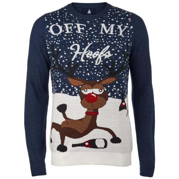 Threadbare Men's Off My Hoofs Christmas Jumper - Navy
