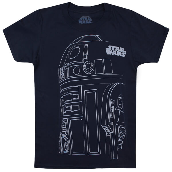 Star Wars Boys' The Last Jedi R2-D2 Outline T-Shirt - Navy