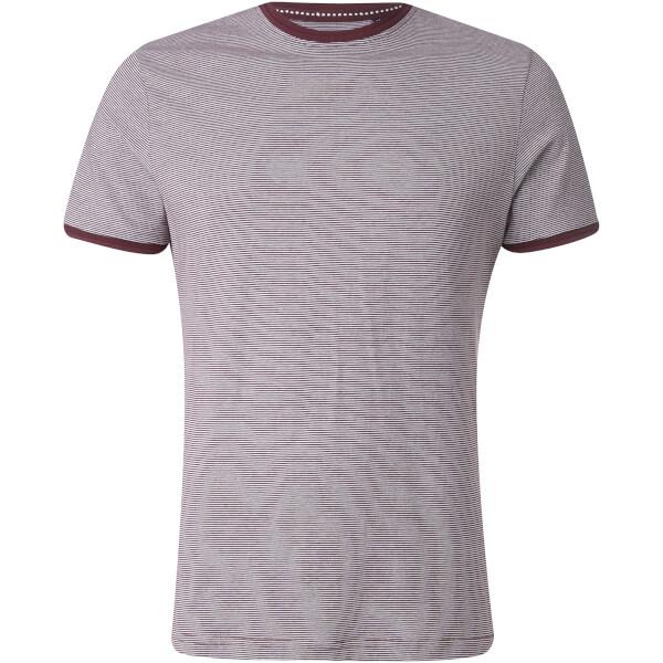 Brave Soul Men's Gandalf Stripe T-Shirt - Burgundy/White
