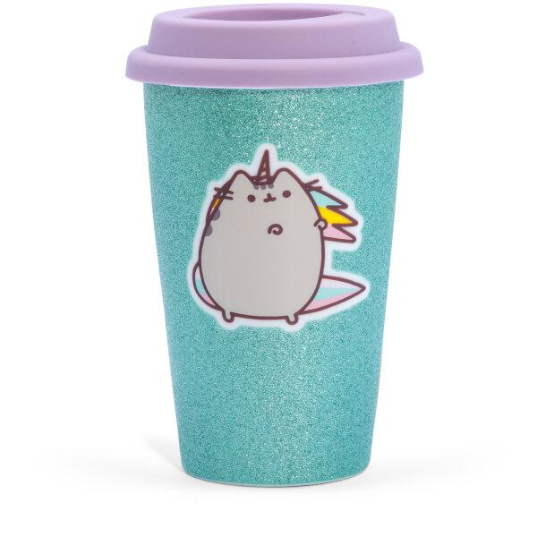 Pusheen Unicorn Ceramic Travel Mug - Glitter Aqua 275ml