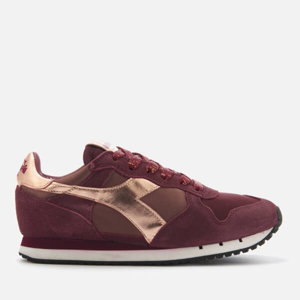 Diadora Heritage Women's Trident W Low Satin Suede Runner Trainers - Violet Port Royale