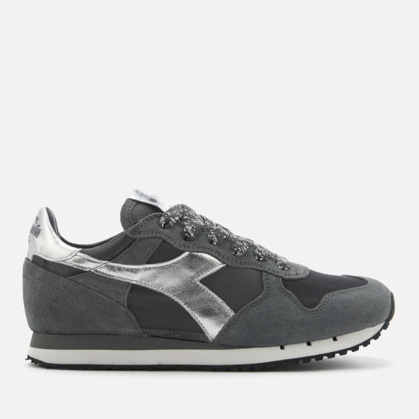 Diadora Heritage Women's Trident W Low Satin Suede Runner Trainers - Storm Grey