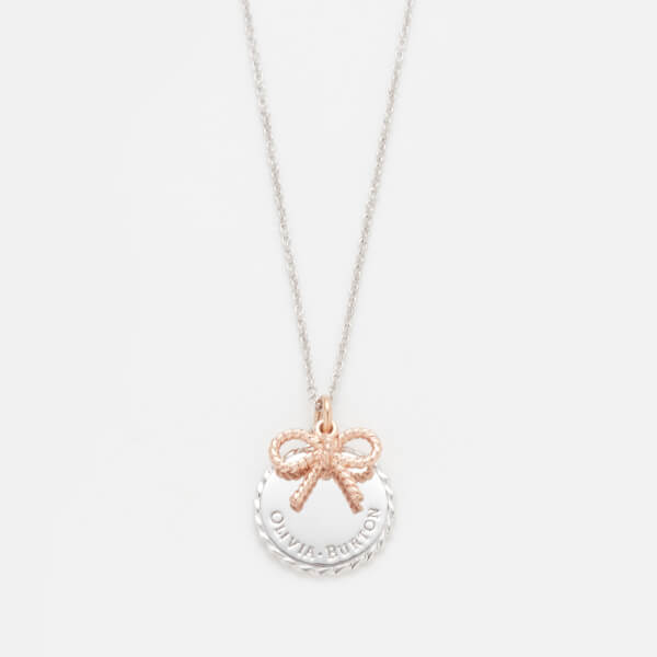 Olivia Burton Women's Coin and Bow Necklace - Rose Gold/Silver