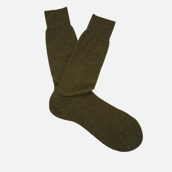 Pantherella Men's Labernum Merino Rib Socks - Dark Olive Mix